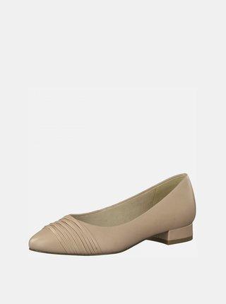 Béžové kožené baleríny Tamaris