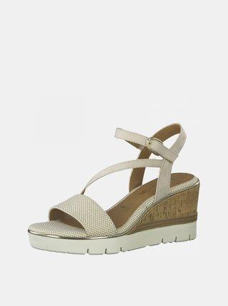 Béžové sandále na plnom podoätku Tamaris