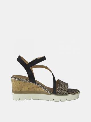 Hnědo-černé sandálky na klínku Tamaris