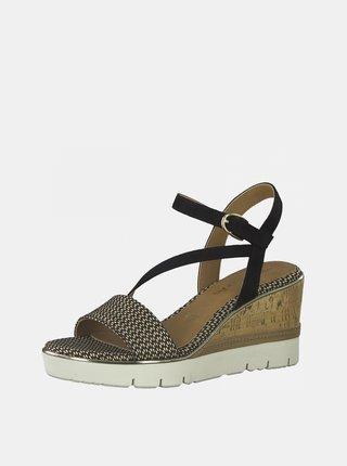 Hnedo-čierne sandále na plnom podpätku Tamaris
