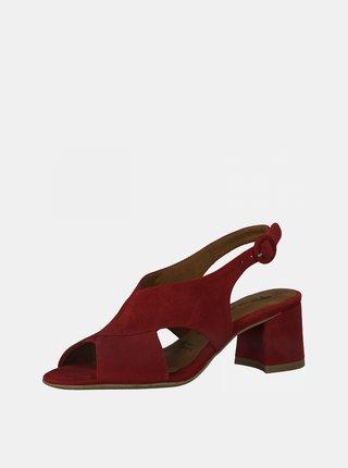 Vínové semišové sandále na podpätku Tamaris