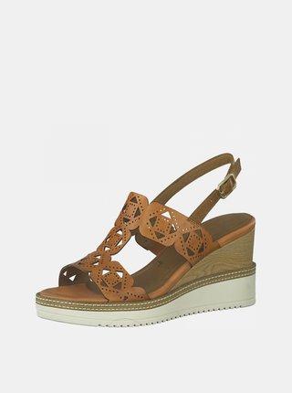 Hnědé kožené sandálky na klínku Tamaris