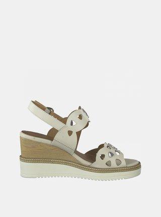 Krémové kožené sandále na plnom podpätku Tamaris