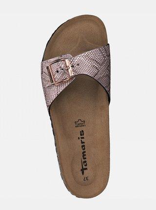 Vzorované pantofle v růžovozlaté barvě Tamaris