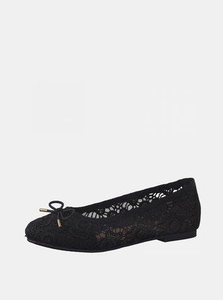 Čierne kvetované baleríny Tamaris