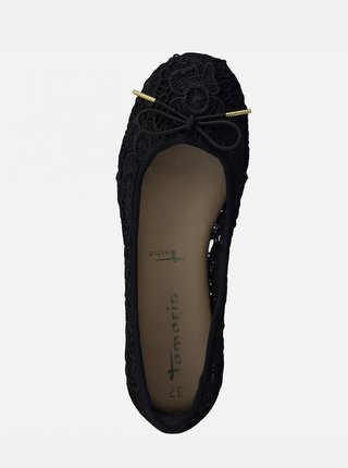Černé květované baleríny Tamaris