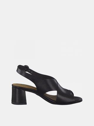 Čierne kožené sandále na podpätku Tamaris