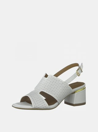 Biele kožené sandále na podpätku Tamaris