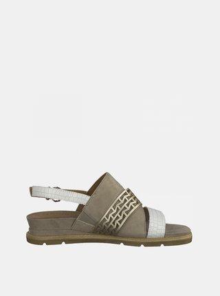 Béžové kožené sandále Tamaris