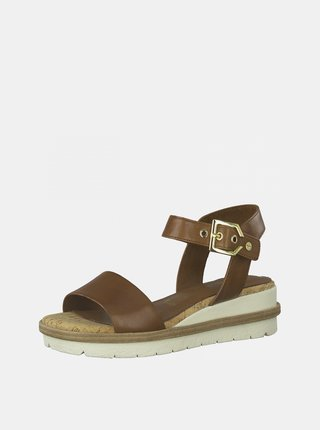 Hnědé kožené sandálky na platformě Tamaris