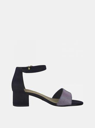 Modro-čierne sandále na podpätku Tamaris