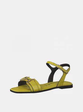 Zelenožluté kožené sandály Tamaris
