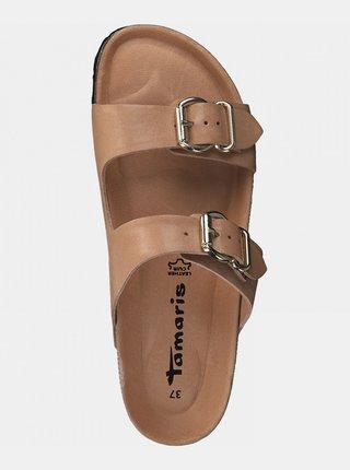 Hnedé kožené šľapky Tamaris