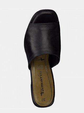 Čierne kožené šľapky Tamaris