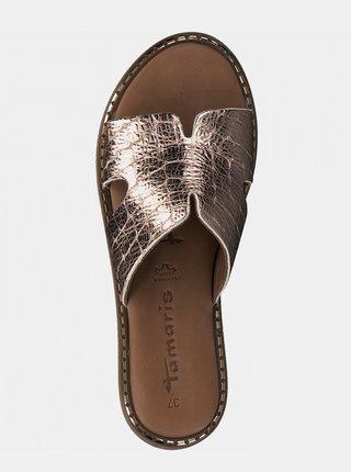 Kožené pantofle v růžovozlaté barvě Tamaris