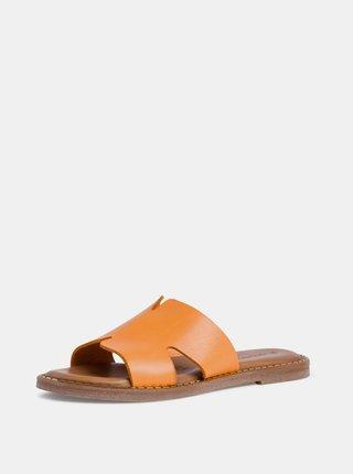 Oranžové kožené pantofle Tamaris