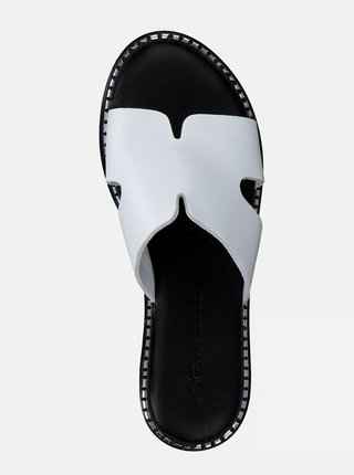 Bílé kožené pantofle Tamaris