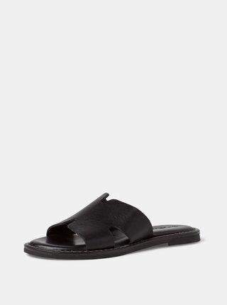 Černé kožené pantofle Tamaris