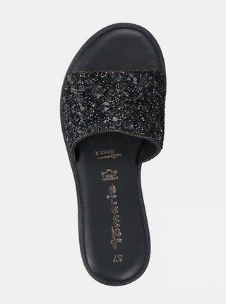 Černé kožené pantofle s ozdobnými kamínky Tamaris