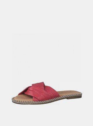 Růžové kožené pantofle Tamaris