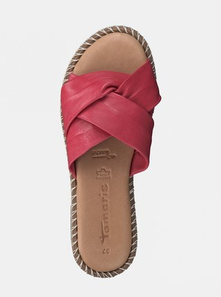 Ružové kožené šľapky Tamaris