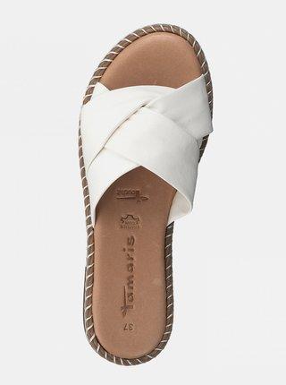 Biele kožené šľapky Tamaris