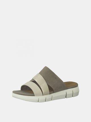 Krémovo-šedé kožené pantofle Tamaris