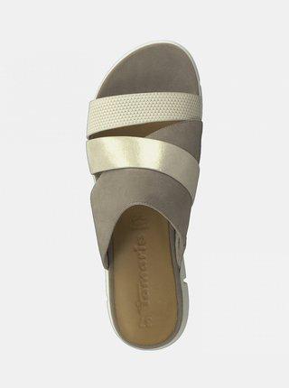 Krémovo-šedé kožené šľapky Tamaris