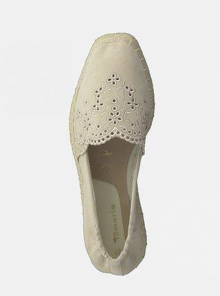 Krémové semišové espadrilky Tamaris