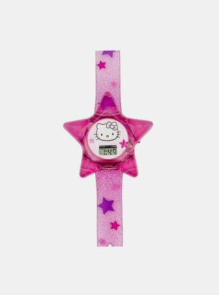 Růžové holčičí hodinky ve tvaru hvězdy Hello Kitty