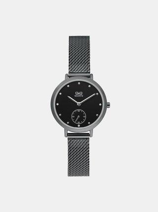 Dámské hodinky s nerezovým páskem v černé barvě Q&Q