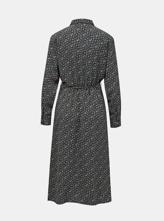 Modro-černé květované košilové midišaty Jacqueline de Yong  Piper