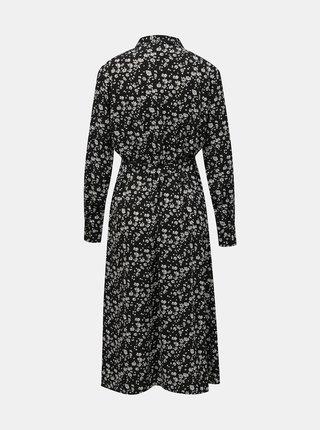 Černé květované košilové midišaty Jacqueline de Yong  Piper