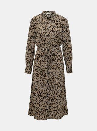 Hnědé vzorované košilové midišaty Jacqueline de Yong  Piper