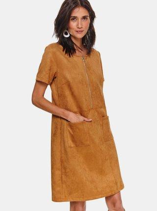 Hnědé šaty v semišové úpravě TOP SECRET