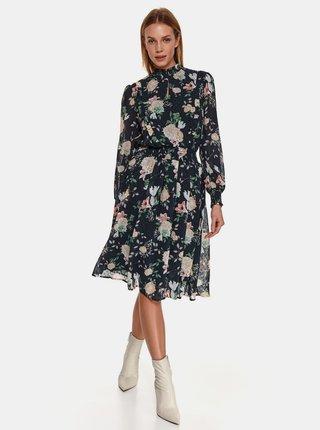 Tmavě modré květované šaty se stojáčkem TOP SECRET