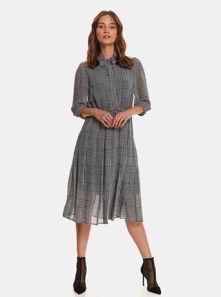 Šedé kostkované košilové šaty s páskem TOP SECRET