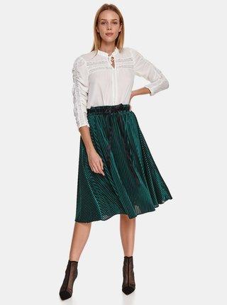 Tmavě zelená plisovaná sukně s mašlí TOP SECRET