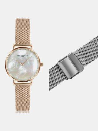 Dámské hodinky s vyměnitelným páskem ve stříbrné a zlaté barvě Annie Rosewood