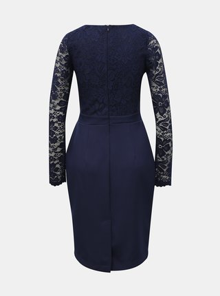 Tmavomodré púzdrové šaty s krajkovým topom numoco