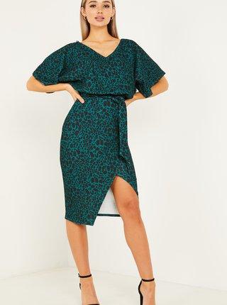Tmavě zelené vzorované zavinovací šaty QUIZ