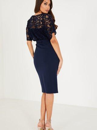Tmavě modré zavinovací šaty s krajkovým topem QUIZ