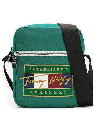Tommy Hilfiger zelená pánská taška Signature Flag Mini Reporter