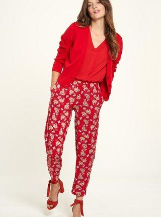 Červené kvetované skrátené nohavice Tranquillo