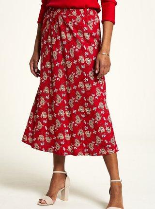 Červená kvetovaná midi sukňa Tranquillo