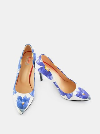 Goby modro-béžové lodičky Flowers Heel