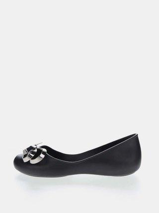 Černé baleríny s detailem ve stříbrné barvě Zaxy Luxury