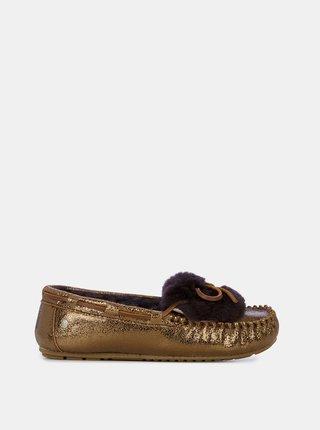 Emu metalické hnědé podzimní mokasíny Amity Cuff Crackled Chocolate Metallic