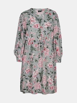 Šedé květované šaty Zizzi