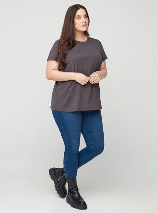 Šedé puntíkované tričko Zizzi
